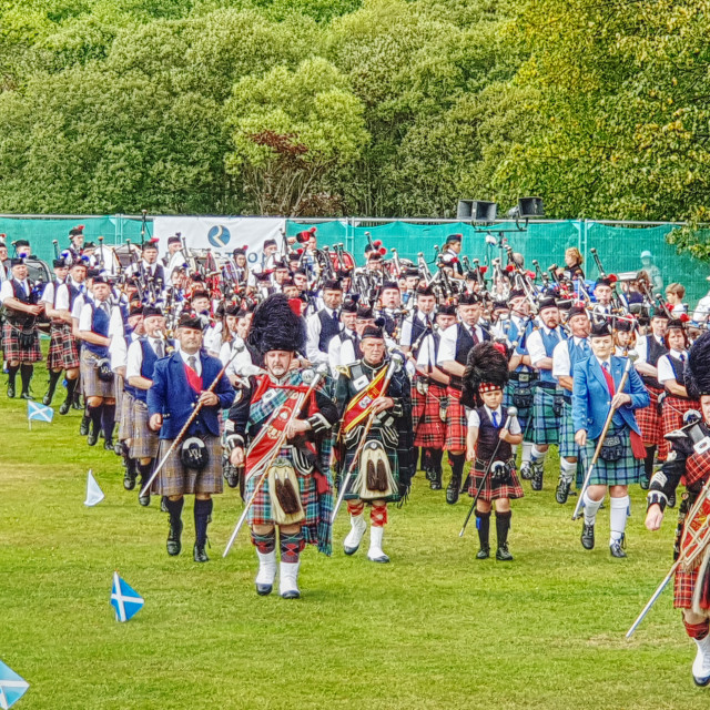 """""""Massed Pipes & Drums"""" stock image"""
