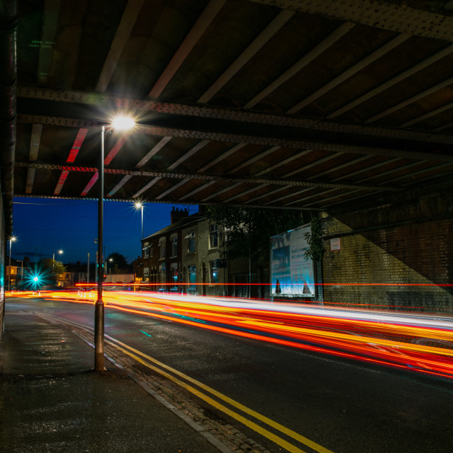"""Reflecting on light trails"" stock image"