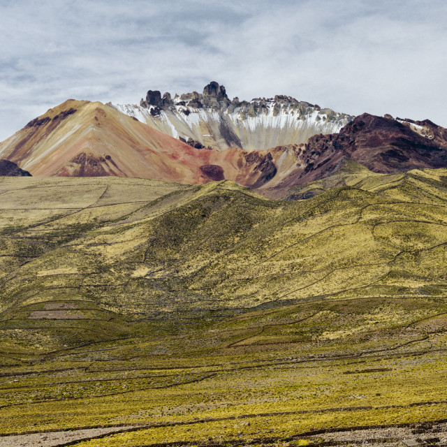 """Dormant Volcano Tunupa situated on a peninsula of the Salar de Uyuni, Bolivia"" stock image"