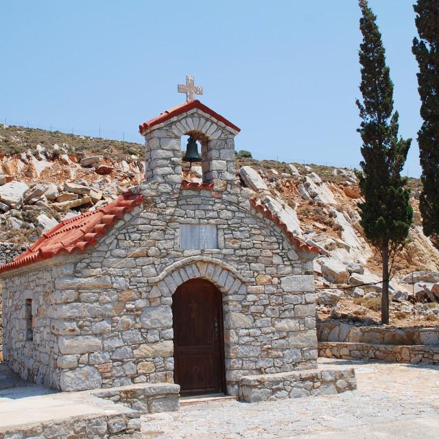 """Stone chapel, Tilos island"" stock image"