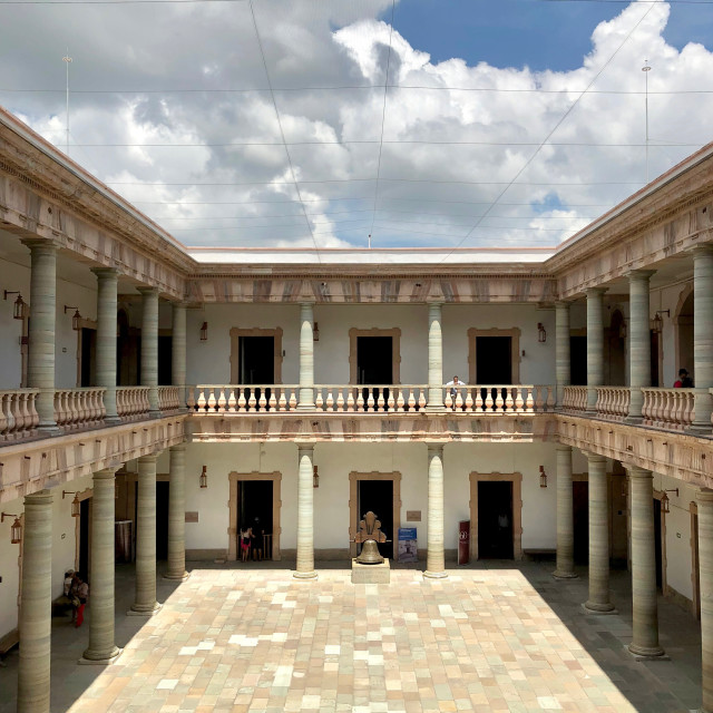 """Historic Alhóndiga Museum with Clouds"" stock image"