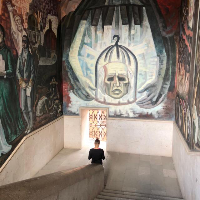 """""""Visitor at the Morado Mural"""" stock image"""