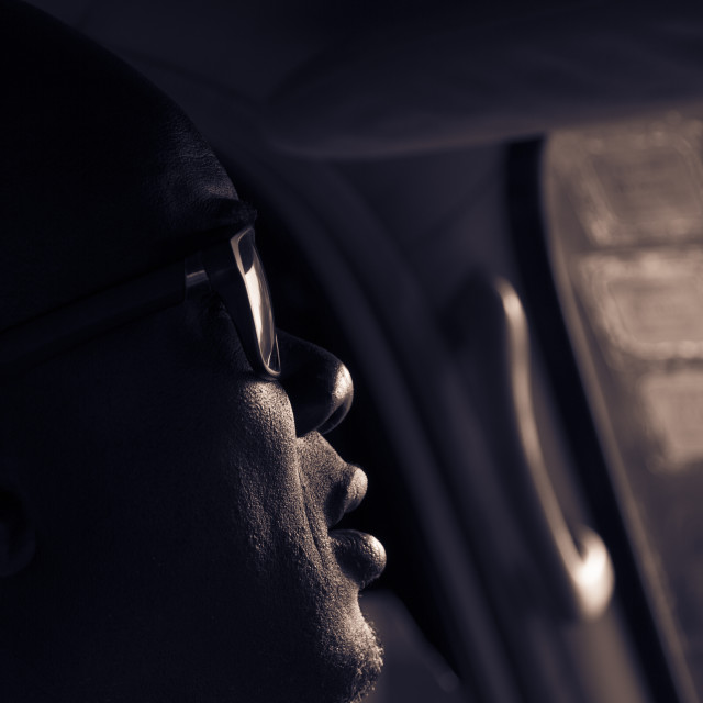 """""""Profile taxi driver BW"""" stock image"""