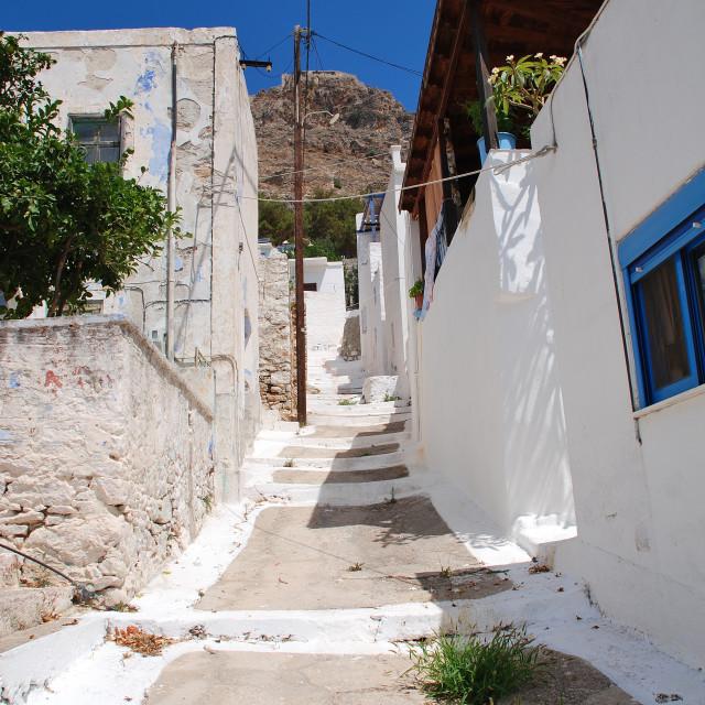 """Megalo Chorio buildings, Tilos"" stock image"