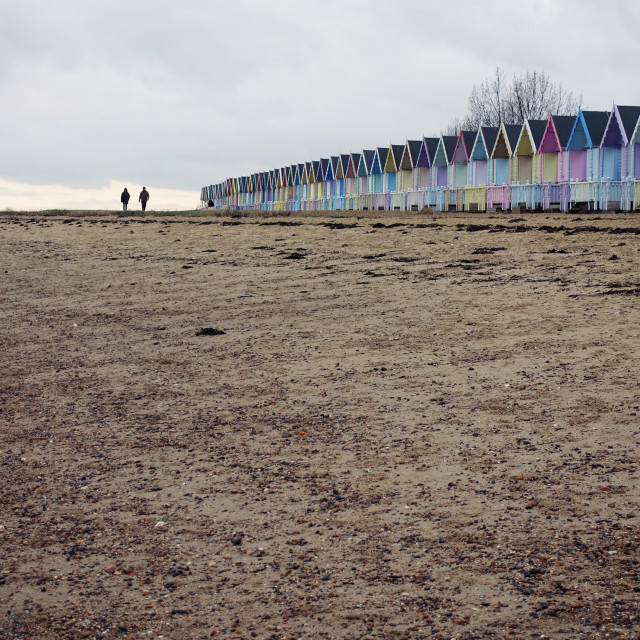 """Mersea Island beach huts"" stock image"