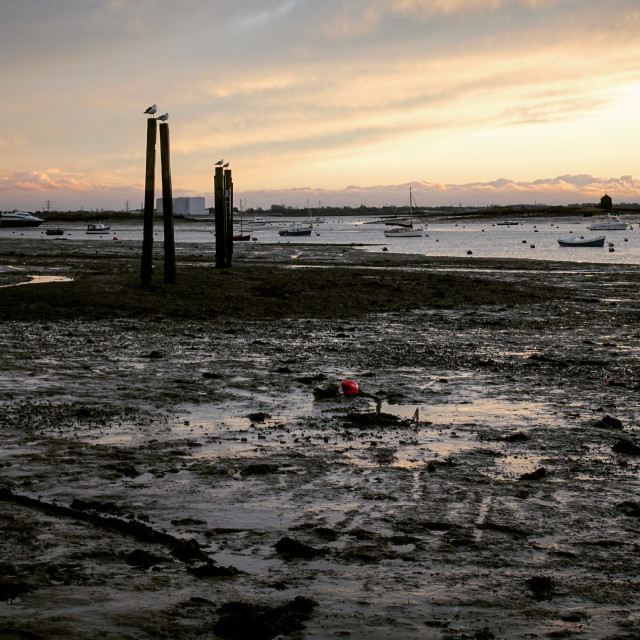 """Sunset over Mersea Island"" stock image"