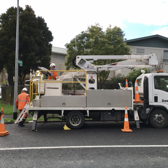 """Cherry Picker Truck Auckland"" stock image"