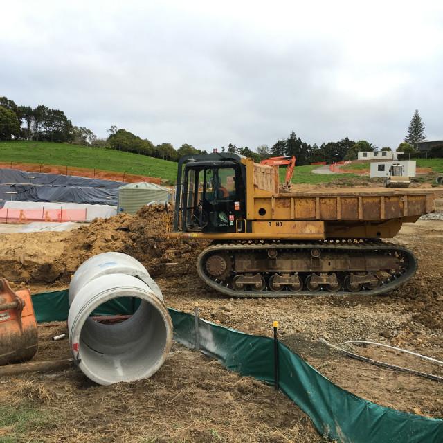 """Dump Truck on Tracks Auckland"" stock image"