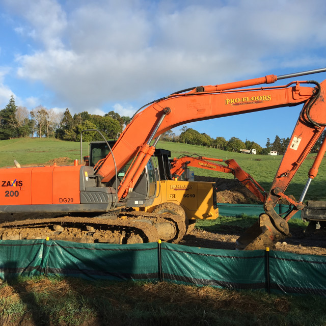 """""""Mechanical Digger Excavator Auckland"""" stock image"""