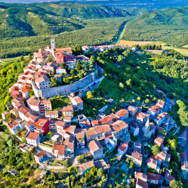 """Idyllic hill town of Motovun aerial view"" stock image"