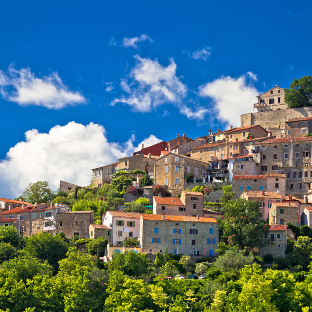 """Town of Motovun on picturesque hill view"" stock image"