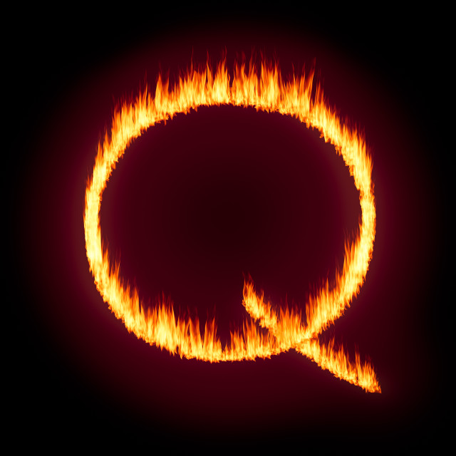 """""""Q Anon deep state conspiracy concept formed from flames"""" stock image"""