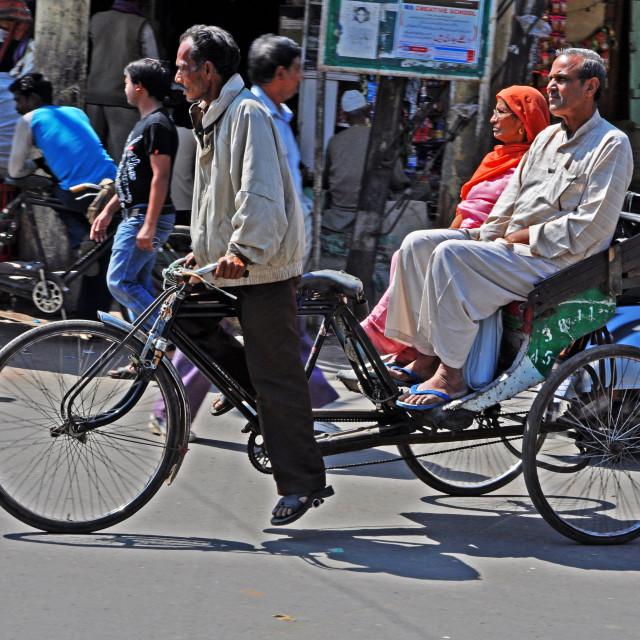 """""""Rickshaw trike in Delhi"""" stock image"""