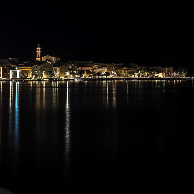 """Lesina and its lake. Night view"" stock image"