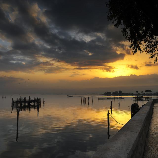 """""""Lesina and its lake. At sunrise."""" stock image"""