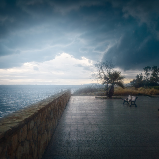 """""""Lesina and her lake after a bad storm"""" stock image"""
