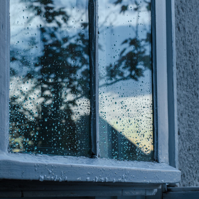 """Window after rain in blue"" stock image"