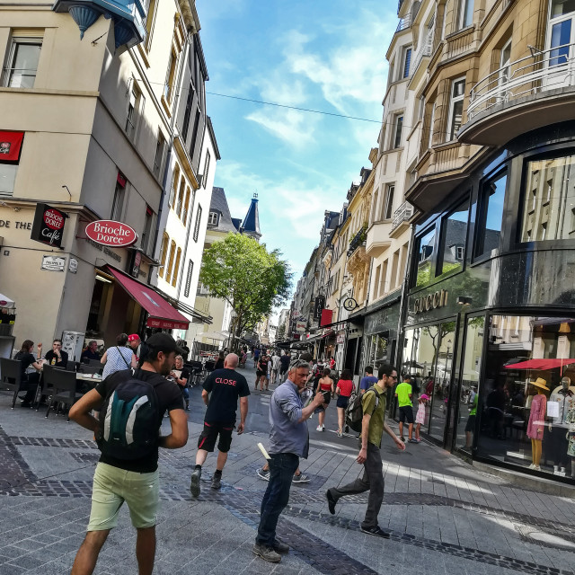 """Side street, central shopping area, Luxembourg City."" stock image"