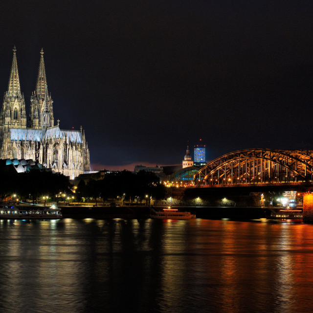 """Cologne cathedral at night"" stock image"