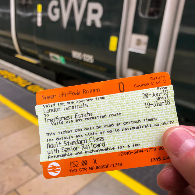 """Rail ticket and train"" stock image"