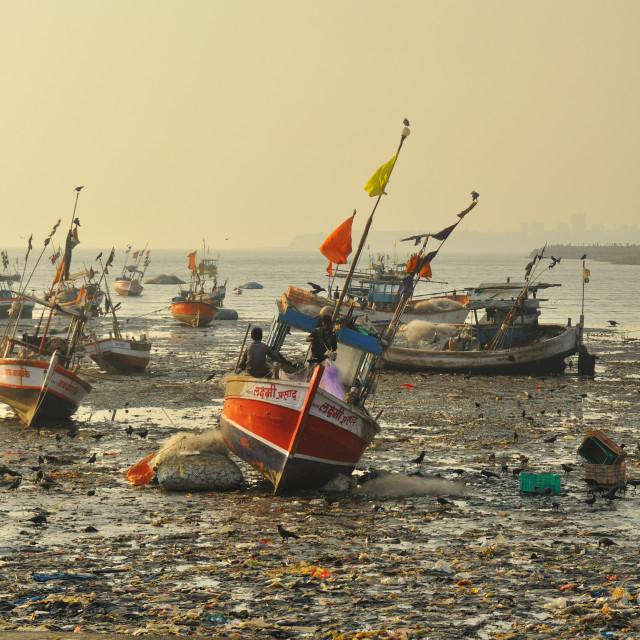 """""""Fishing boat at Calaba"""" stock image"""