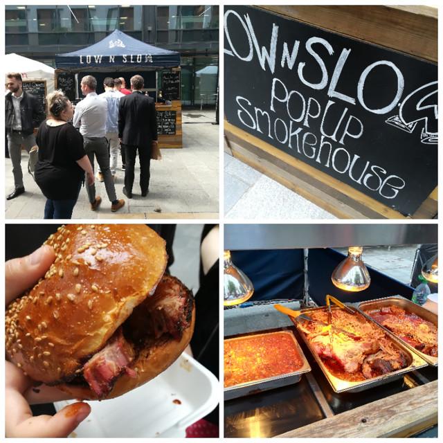 """Low n slow street food stall, Bristol."" stock image"
