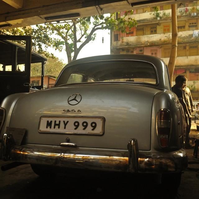 """""""Classic Mercedes in MUmbai"""" stock image"""
