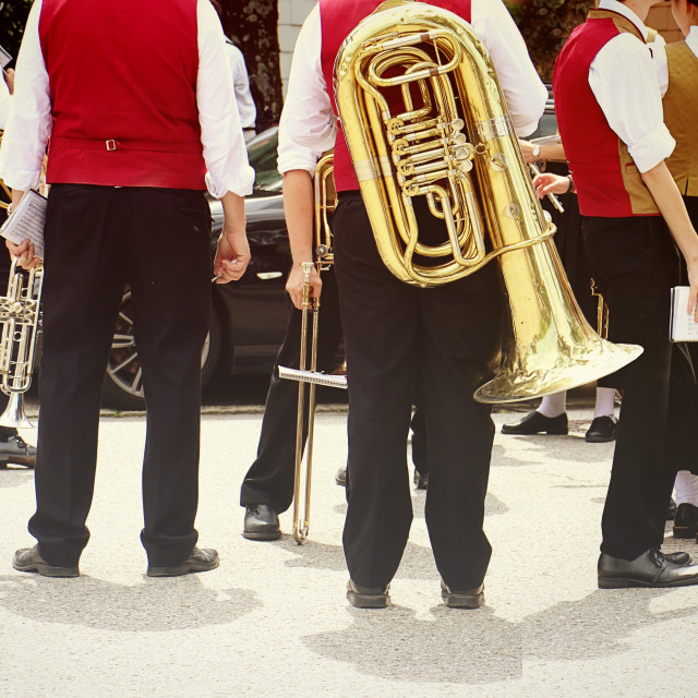 """Brass band musicians in Bavarian costume"" stock image"