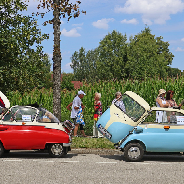 """Two Vintage cars BMW Isetta 300 bicolor"" stock image"