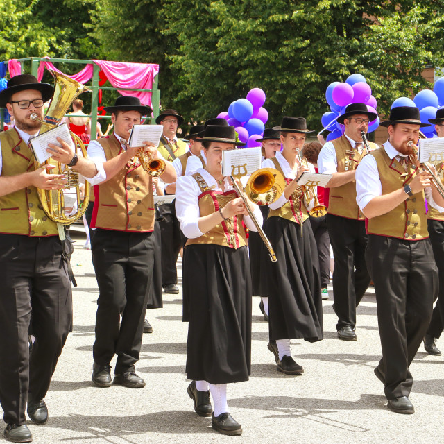 """Brass band in Bavarian costume parade"" stock image"