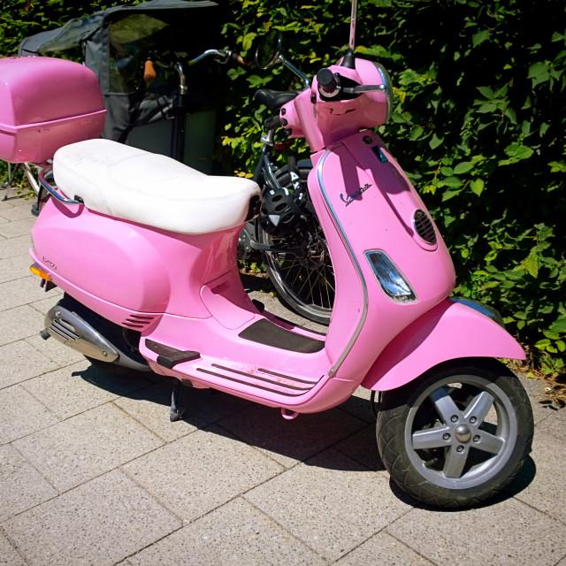 """""""Pink vintage Vespa"""" stock image"""