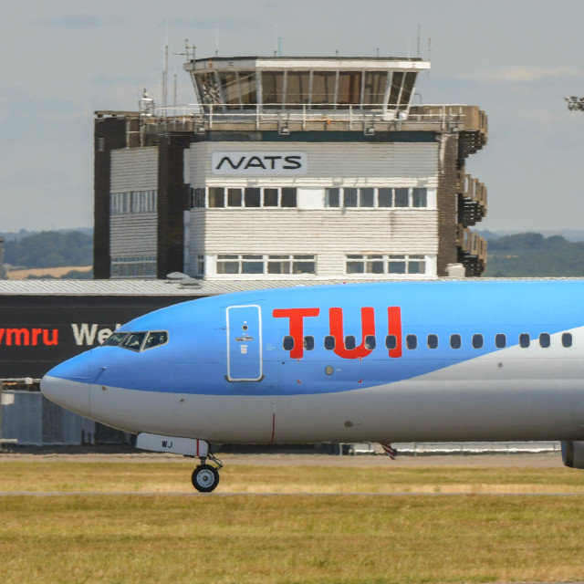 """""""TUI airliner at Cardiff Wales Airport"""" stock image"""