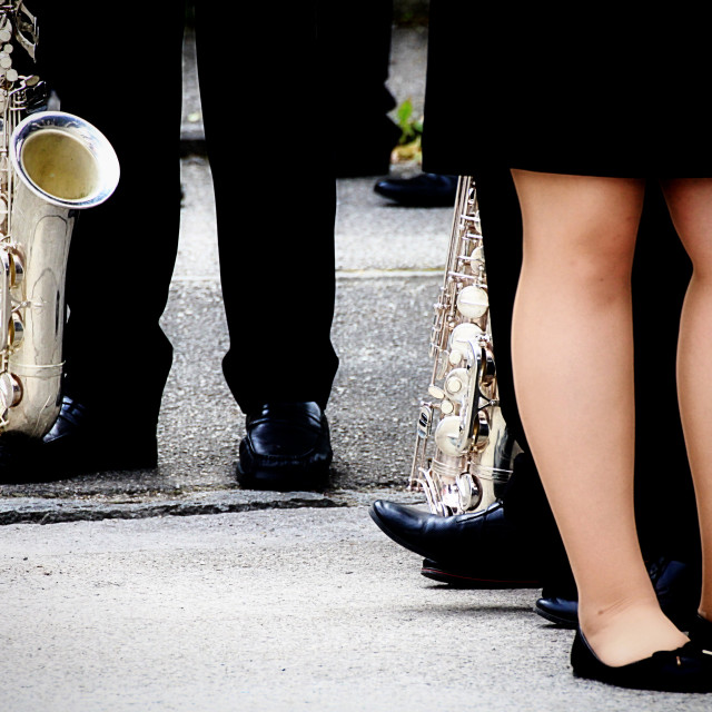 """Brass band in formal dress"" stock image"