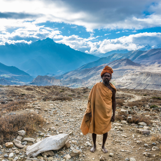 """Sadhu against the mountain landscape on April 7, 2018 in the vic"" stock image"