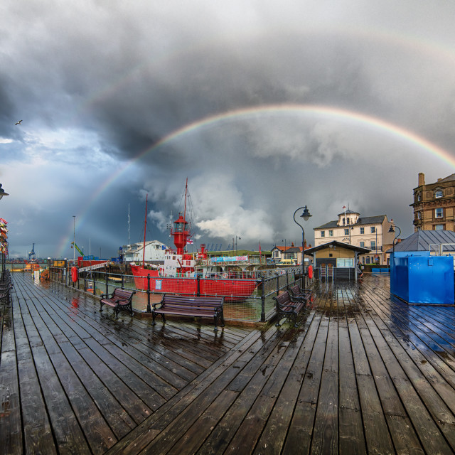 """Double Rainbow Over Harwich Pier"" stock image"