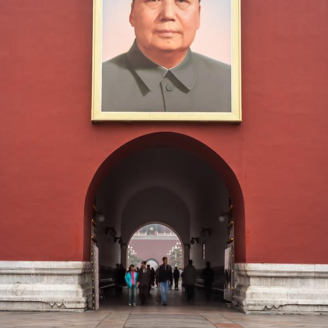 """Tiananmen Gate of Heavenly Peace, Portrait of Mao, Beijing"" stock image"