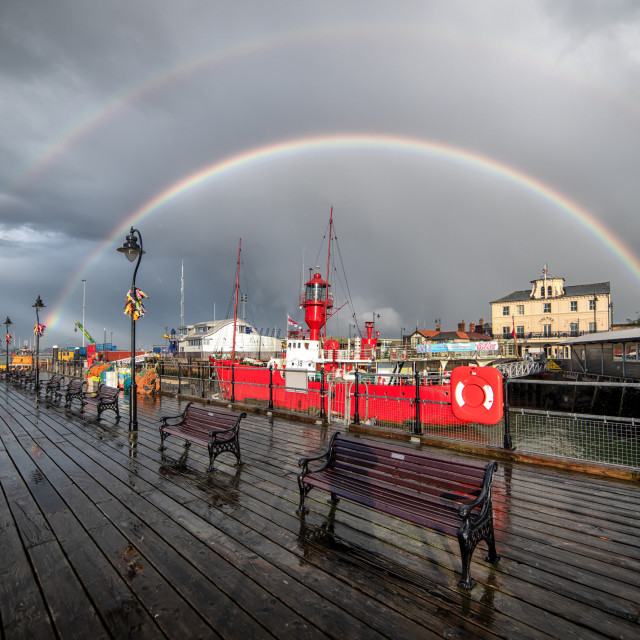 """Double Rainbow Over LV18 Pirate Radio Harwich"" stock image"