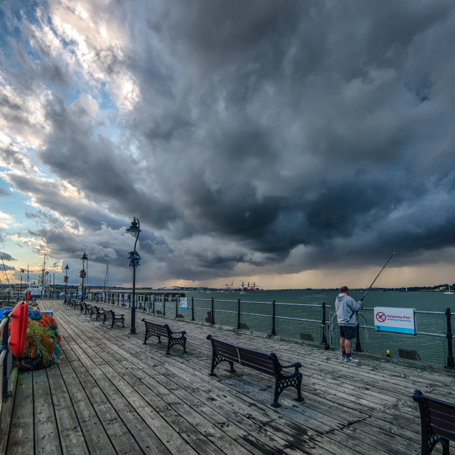"""Harwich Pier Storm"" stock image"