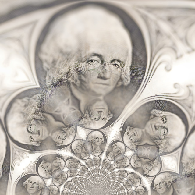"""Kaleidoscopic Pattern of a Dollar Bill"" stock image"