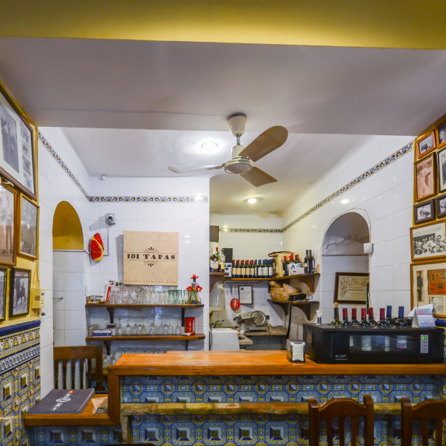 """Interior of bullfighting themed tapas bar in the historic centre of Cordoba"" stock image"