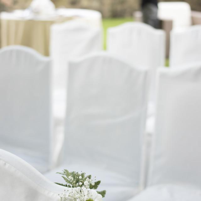 """Outdoor garden civil wedding seating"" stock image"
