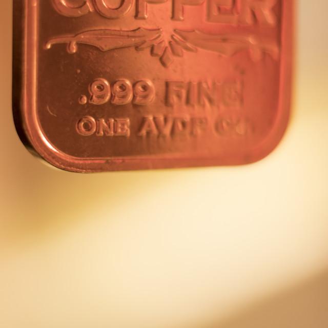"""""""Copper bullion ingot bar"""" stock image"""