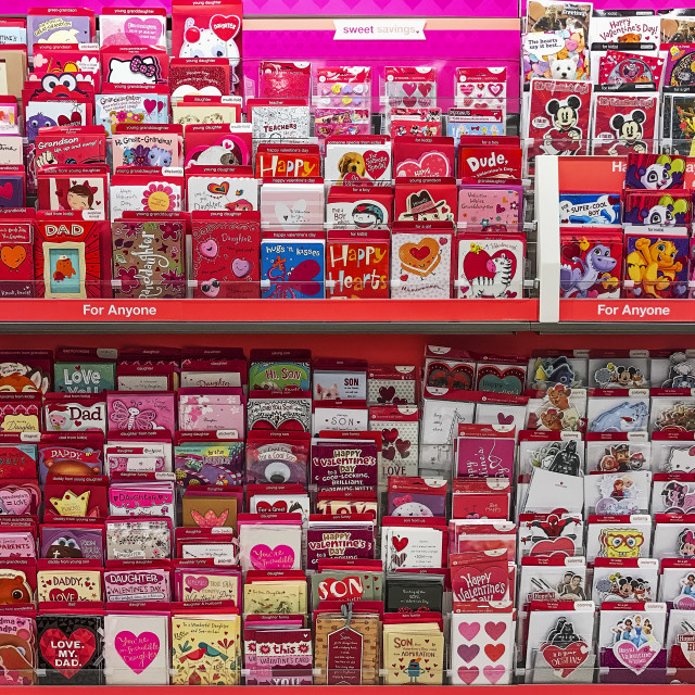 """Rack of Valentine cards in a greeting card shop."" stock image"