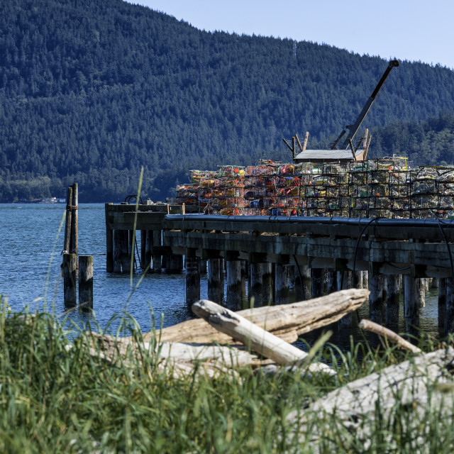 """""""Crab traps stacked on a dock, Gooseberry Point, Bellingham, Washington"""" stock image"""