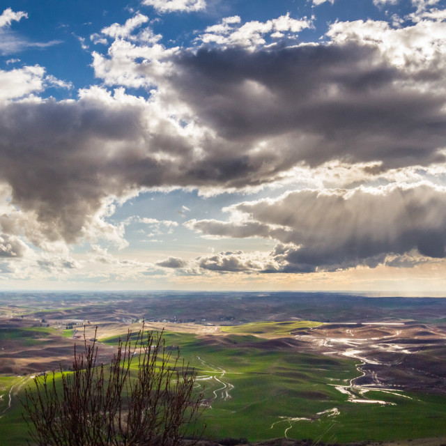 """Clouds over the Palouse Farmlands"" stock image"
