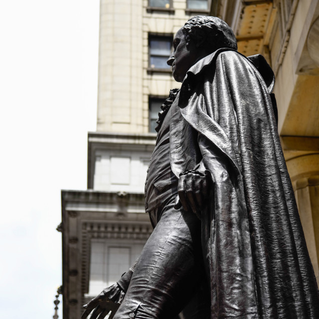 """""""Low angle view view of George Washington statue in Federal Hall"""" stock image"""