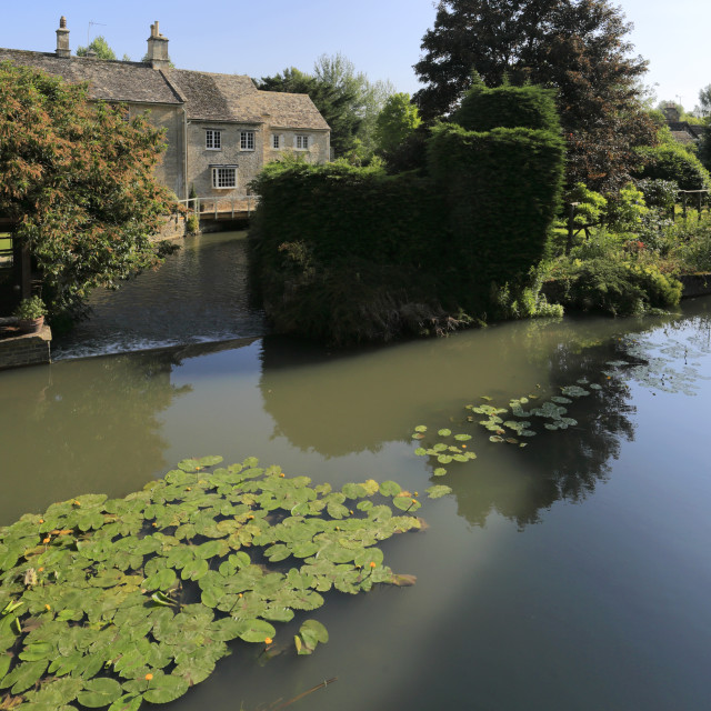 """""""Stone Bridge over the River Windrush at Burford Town, Oxfordshire Cotswolds,..."""" stock image"""
