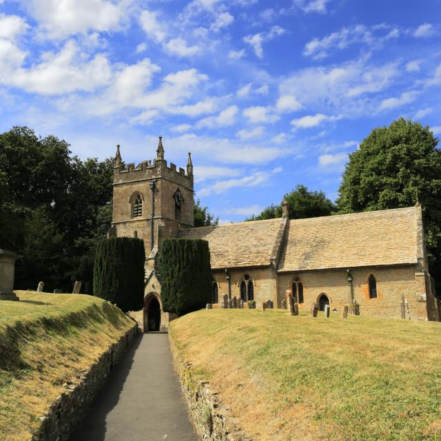 """St Peters Parish Church, Upper Slaughter village, Gloucestershire Cotswolds,..."" stock image"