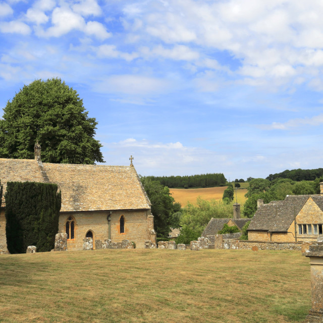 """St Peters Parish Church, Upper Slaughter village, Gloucestershire Cotswolds,..."" stock image"