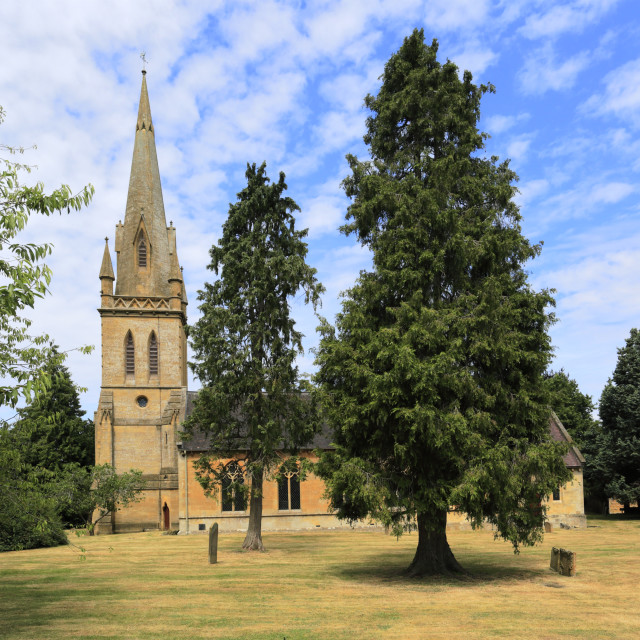 """St Davids parish church, Moreton-in-Marsh town, Gloucestershire, Cotswolds,..."" stock image"